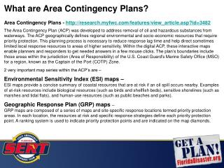 What are Area Contingency Plans?