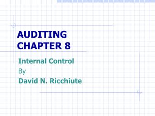 AUDITING CHAPTER 8