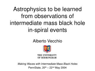 Astrophysics to be learned from observations of intermediate mass black hole in-spiral events