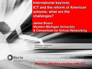 International keynote: ICT and the reform of American schools: what are the challenges?