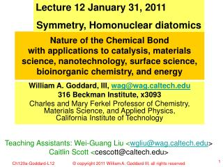 Lecture 12 January 31, 2011 Symmetry, Homonuclear diatomics