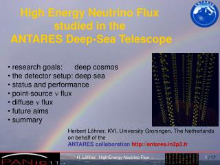 High Energy Neutrino Flux  studied in the  ANTARES Deep-Sea Telescope