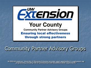 Community Partner Advisory Groups