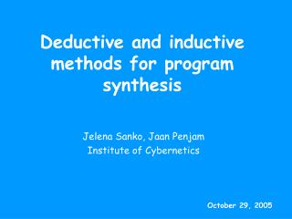 Deductive and inductive methods for program synthesis