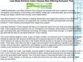Lean Body Extreme Colon Cleanse Now Offering Exclusive Trial