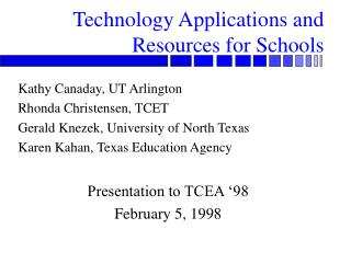 Technology Applications and Resources for Schools