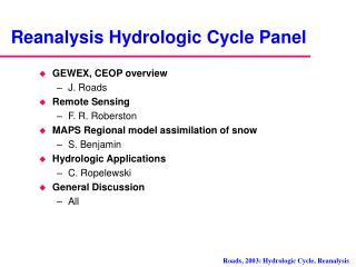 Reanalysis Hydrologic Cycle Panel