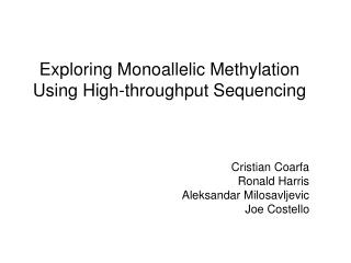 Exploring Monoallelic Methylation Using High-throughput Sequencing