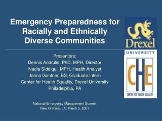 Emergency Preparedness for Racially and Ethnically Diverse Communities
