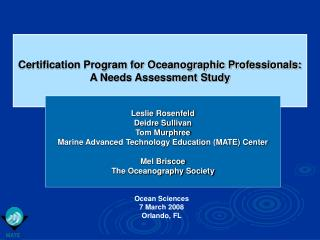 Certification Program for Oceanographic Professionals: A Needs Assessment Study