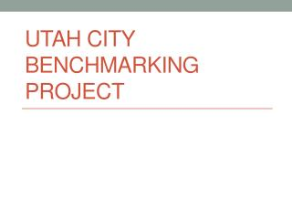 Utah City Benchmarking project