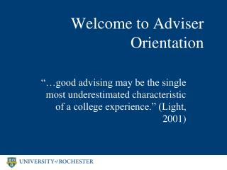 Welcome to Adviser Orientation