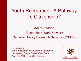 Youth Recreation - A Pathway To Citizenship?