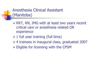 Anesthesia Clinical Assistant (Manitoba)