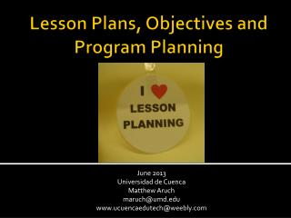Lesson Plans, Objectives and Program Planning