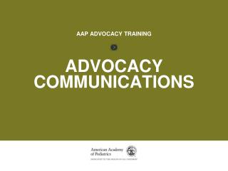 AAP ADVOCACY TRAINING