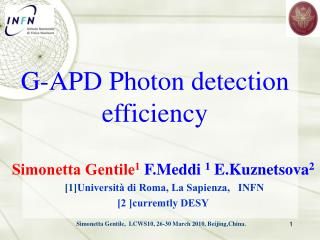 G-APD Photon detection efficiency