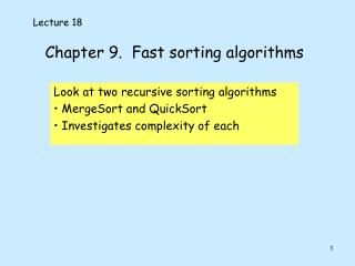 Chapter 9.  Fast sorting algorithms