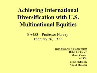Achieving International Diversification with U.S. Multinational Equities