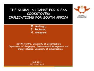 THE GLOBAL ALLIANCE FOR CLEAN COOKSTOVES:  IMPLICATIONS FOR SOUTH AFRICA