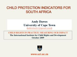 CHILD PROTECTION INDICATORS FOR SOUTH AFRICA