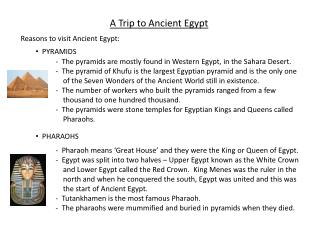 A Trip to Ancient Egypt
