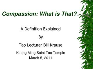 Compassion: What is That?