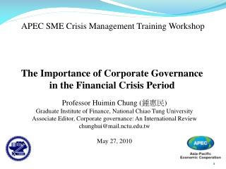 Professor Huimin Chung ( 鍾惠民 ) Graduate Institute of Finance, National Chiao Tung University