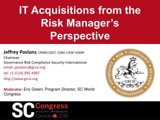IT Acquisitions from the Risk Manager's Perspective