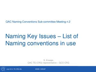 Naming Key Issues – List of Naming conventions in use