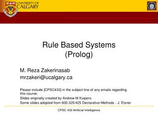Rule Based Systems (Prolog)