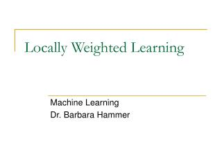Locally Weighted Learning