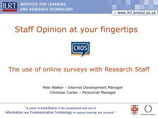 The use of online surveys with Research Staff