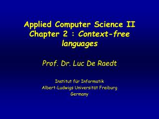 Applied Computer Science II Chapter 2 :  Context-free languages