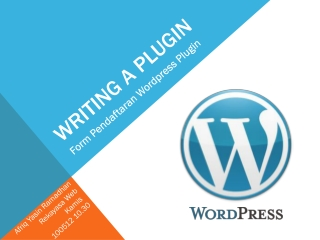 Membangun Form Pendaftaran Wordpress Plugin