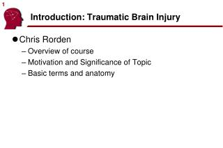 Introduction: Traumatic Brain Injury