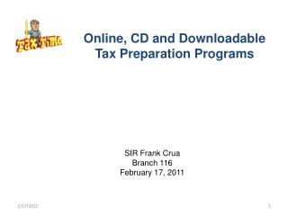Online, CD and Downloadable Tax Preparation Programs