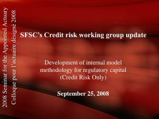 SFSC's Credit risk working group update