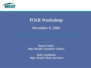 POLR Workshop Agenda