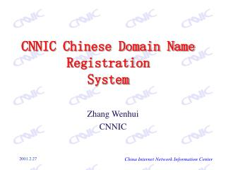 CNNIC Chinese Domain Name Registration System