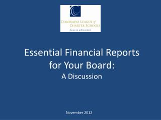 Essential Financial Reports  for Your Board: A Discussion