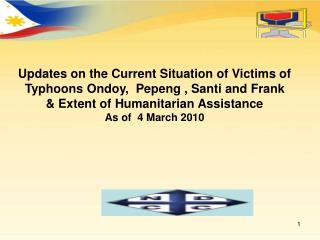Updates on the Current Situation of Victims of Typhoons Ondoy,  Pepeng , Santi and Frank