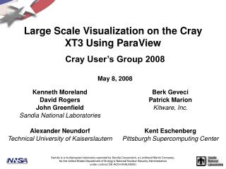 Large Scale Visualization on the Cray XT3 Using ParaView
