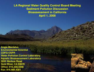 LA Regional Water Quality Control Board Meeting Sediment Pollution Discussion