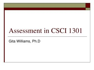 Assessment in CSCI 1301