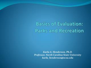 Basics of Evaluation:  Parks and Recreation