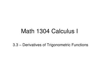 Math 1304 Calculus I