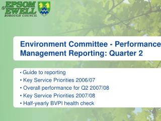 Environment Committee - Performance Management Reporting: Quarter 2
