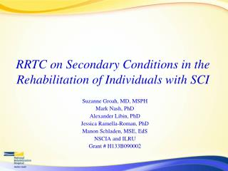 RRTC on Secondary Conditions in the Rehabilitation of Individuals with SCI
