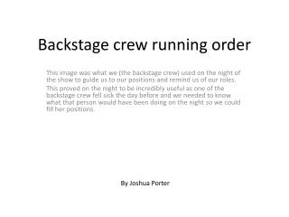 Backstage crew running order